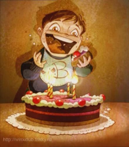 Брендон в детстве с тортом