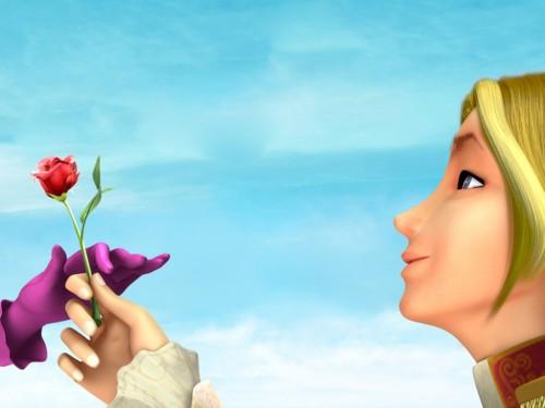 Скай дарит розу Блум