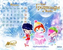 Календарь Винкс на февраль 2012 года 1028х1024 пикселей