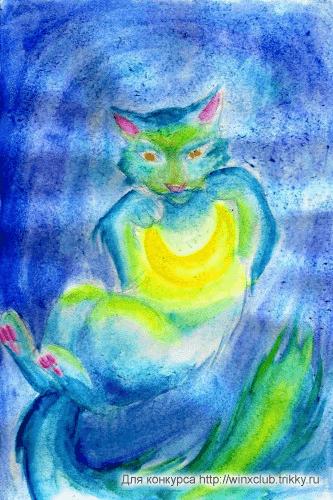 Кот ловит полумесяц и дарит...