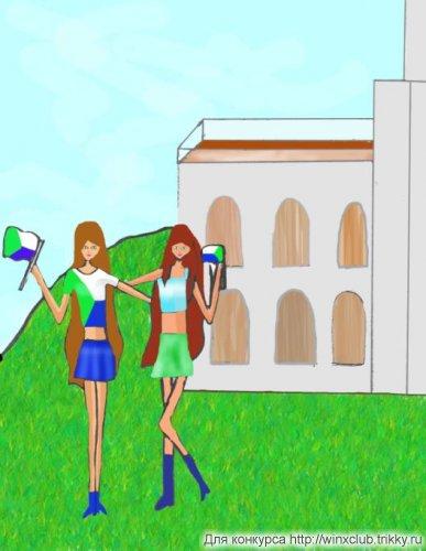 Флора и Лейла в Хабаровске на фоне утёса