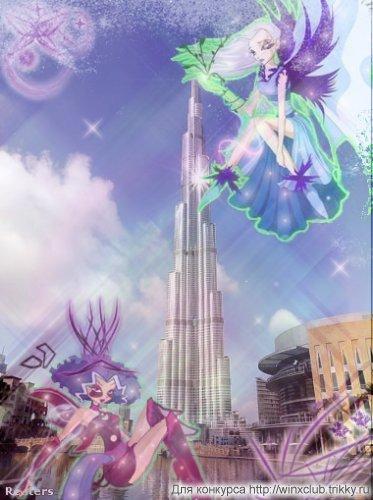 Айси и Дарси на фоне Бурж Дубай(Дубай Халифа),ОАЭ  фа