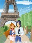 Флора и Гелия на фоне Эйфелевой башни, Париж (автор: Гвэндалин)