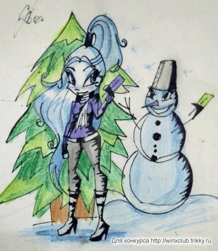 Рисунок в полевых условиях. Снеговика перекосило