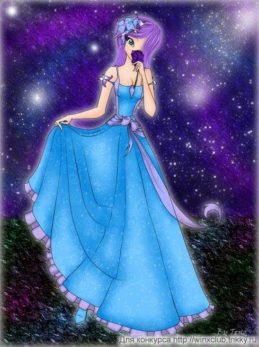 Текна в бальном платье с цветком