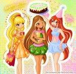 Стелла, Флора и Блум с тортом